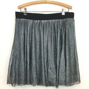 Torrid tulle shimmer mini skirt black silver 0X